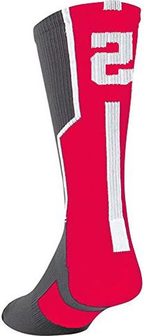 TCK Player Id Number Crew Sock - Red/Graphite/White