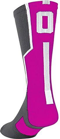 TCK Player Id Number Crew Sock Pink/Graphite/White