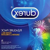 Durex Pleasure Pack, Assorted Premium Lubricated Condoms, 36