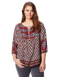 Lucky Brand Women's Plus-Size Annabelle Mixed Print Top,