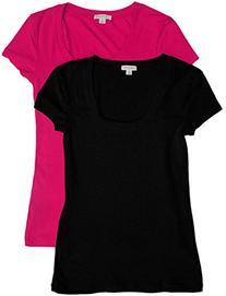 2 Pack Zenana Women's Plus Size Basic Scoop Neck Tees 3X