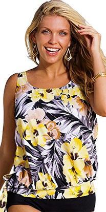 Beach Belle Women's Plus Size Blouson Tankini Top Yellow