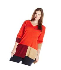 Plus Size Women's Vince Camuto Colorblock V-Neck Sweater,