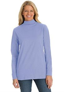 Woman Within Women's Plus Size Cotton Mockneck with Long