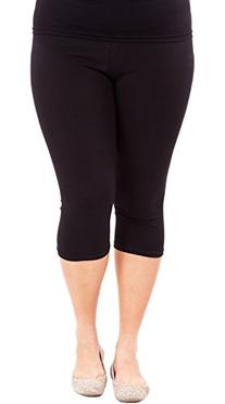 Woman Plus Size Elastic Waist Cotton Capri Leggings,Black,2X