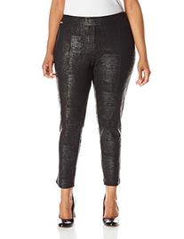 Calvin Klein Women's Plus-Size Embossed Ponte Legging, Black