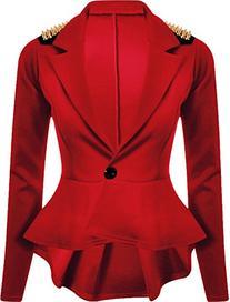 New Womens Plus Size Gold Studded Peplum Blazer Jacket