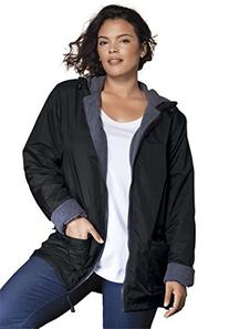Roamans Women's Plus Size Hooded Nylon Jacket Black,3X