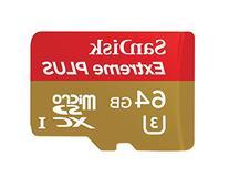 SanDisk Extreme PLUS 64GB microSDXC UHS-I/U3 Card with Adapter