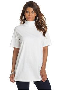 Roamans Women's Plus Size Mockneck Ultimate Tee White,1X