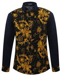 APTRO Men's Plus Size Paisley Printed Splice Long Sleeves