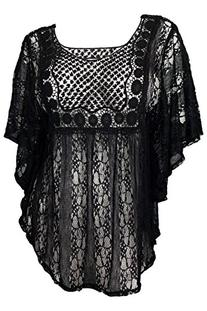 eVogues Plus Size Sheer Crochet Lace Poncho Top Black - 2X