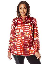 Women's Plus-Size Long Sleeve Graphic Steps Tie Neck Blouse