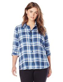 Dickies Women's Plus-Size Long Sleeve Plaid Flannel Shirt