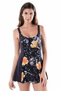 Delimira Women's Plus Size One Piece Swimdress Skirted