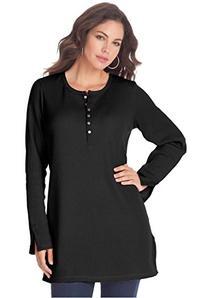 Roamans Women's Plus Size Thermal Henley Tunic Black,1X