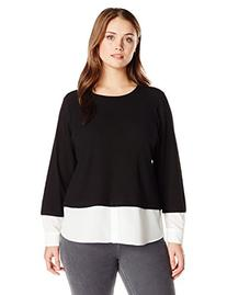 Calvin Klein Women's Plus-Size Thermal Top with Shirting,
