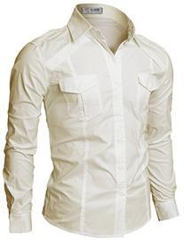 Doublju Mens Comfortable Pocket Front Long Sleeve Plus Size