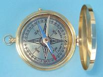 Polished Large Brass Pocket Compass