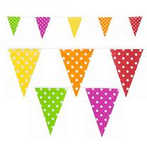 Polka Dot Pennant Flags Multi Colour Banner Party Decoration
