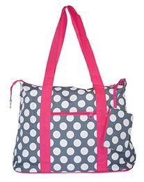 Ever Moda Pink Grey Polka Dots Tote Bag X-Large 21-inch