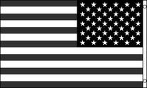 3x5 Foot Polyester Black and White American Flag Recession
