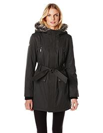 Kensie Women's Polyester Fill Belted Parka, Black, X-Small