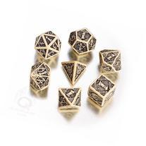 Q-Workshop Polyhedral 7-Die Set: Celtic 3D BEIGE & Black