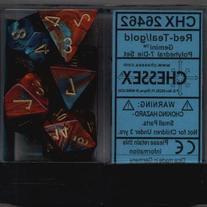 Polyhedral 7-Die Gemini Dice Set: Red / Teal with Gold