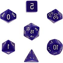 Polyhedral 7-Die Opaque Chessex Dice Set - Purple with White