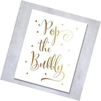 Pop the Bubbly Gold Foil Print Bar Cart Sign Wedding Signage