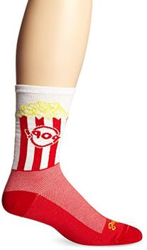 SockGuy Men's Pop Corn Crew Sock, Red, Small/Medium