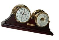 "7"" Porthole Tide Clock and Barometer Thermometer with Stand"