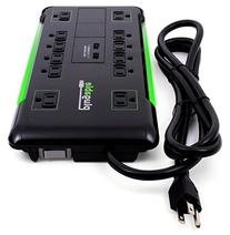 Plugable 12 AC Outlet Surge Protector with Built-In 10.5W 2-