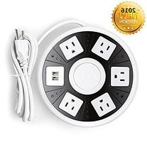 Power Strip, Lanshion Smart 5-Outlet with 2-USB UFO Shape