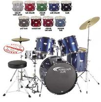 Percussion Plus PP4100BK 5-Piece Drum Set, Black