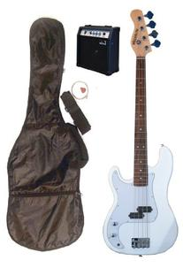 """Full Size 43"""" Precision P White Electric Bass Guitar with 10"""