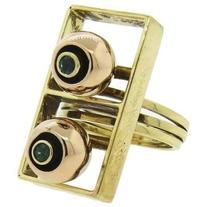 Preowned Giorgio Facchini Emerald Gold Movable Ring