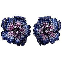 Preowned Mun Flower Earrings With Sapphire ,pink Sapphire