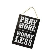 Prey More Worry Less 35Cm Wooden Sign Vintage Style Wall
