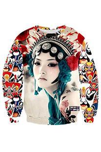 Pink Queen Women's Peking Opera Print Casual Pullover