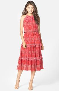 Women's Taylor Dresses Print Chiffon Tiered Popover Dress,