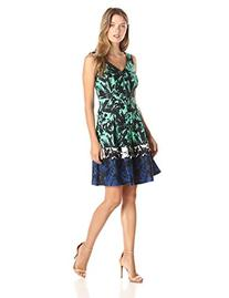 Women's Taylor Dresses Print Scuba Fit & Flare Dress, Size