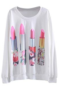 Pink Queen Women's Lipstick Printed Round Neck Sweatshirt