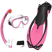 PROMATE Snorkeling Mask Fins DRY Snorkel Set Gear Bag, Pink