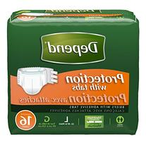 Depend Protection Briefs with Tabs, Large, 16 Count