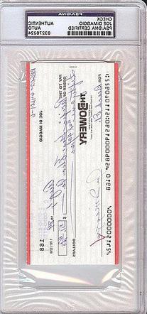 Joe DiMaggio Signed Check - PSA/DNA Authentication -