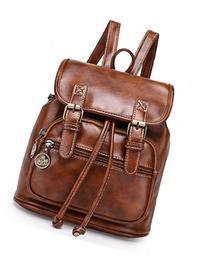 Kenox Small Pu Crazy Horse Leather Girls School Backpacks