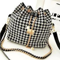 Fashion Women PU Leather grid Handbag Crossbody Satchel