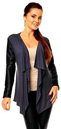 Zeta Ville Women's PU Leather Sleeve Waterfall Jacket
